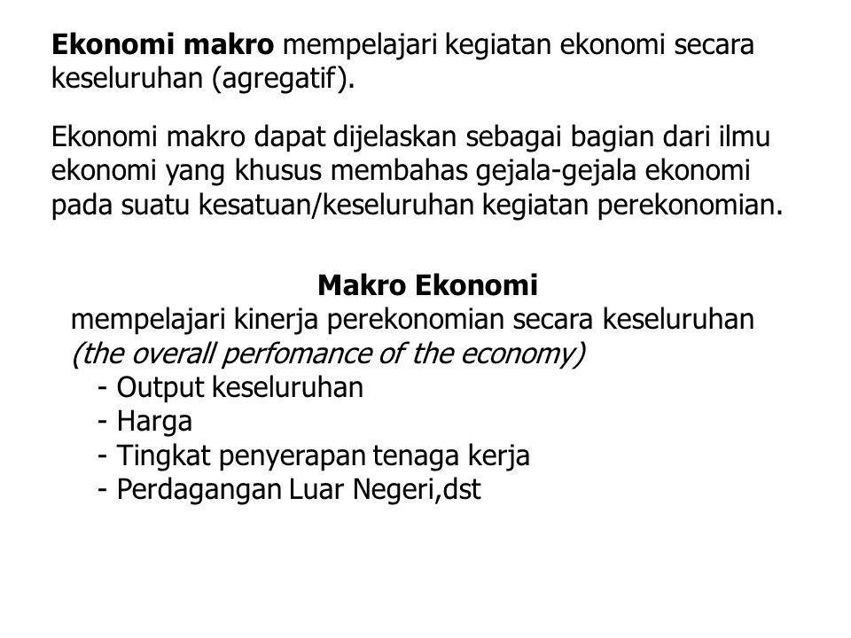 Ekonomi makro mempelajari kegiatan ekonomi secara keseluruhan (agregatif). Ekonomi makro dapat dijelaskan sebagai bagian dari ilmu ekonomi yang khusus