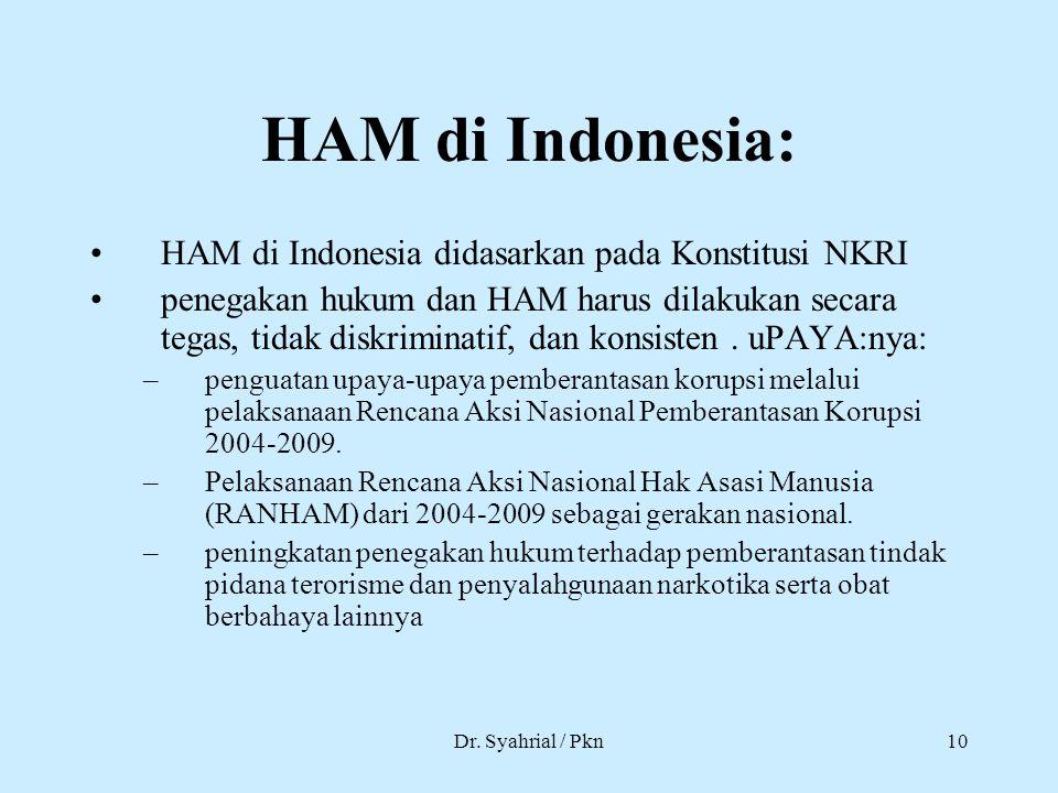 Dr. Syahrial / Pkn10 HAM di Indonesia: HAM di Indonesia didasarkan pada Konstitusi NKRI penegakan hukum dan HAM harus dilakukan secara tegas, tidak di