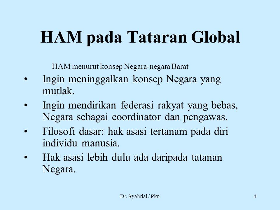 Dr. Syahrial / Pkn4 HAM pada Tataran Global HAM menurut konsep Negara-negara Barat Ingin meninggalkan konsep Negara yang mutlak. Ingin mendirikan fede