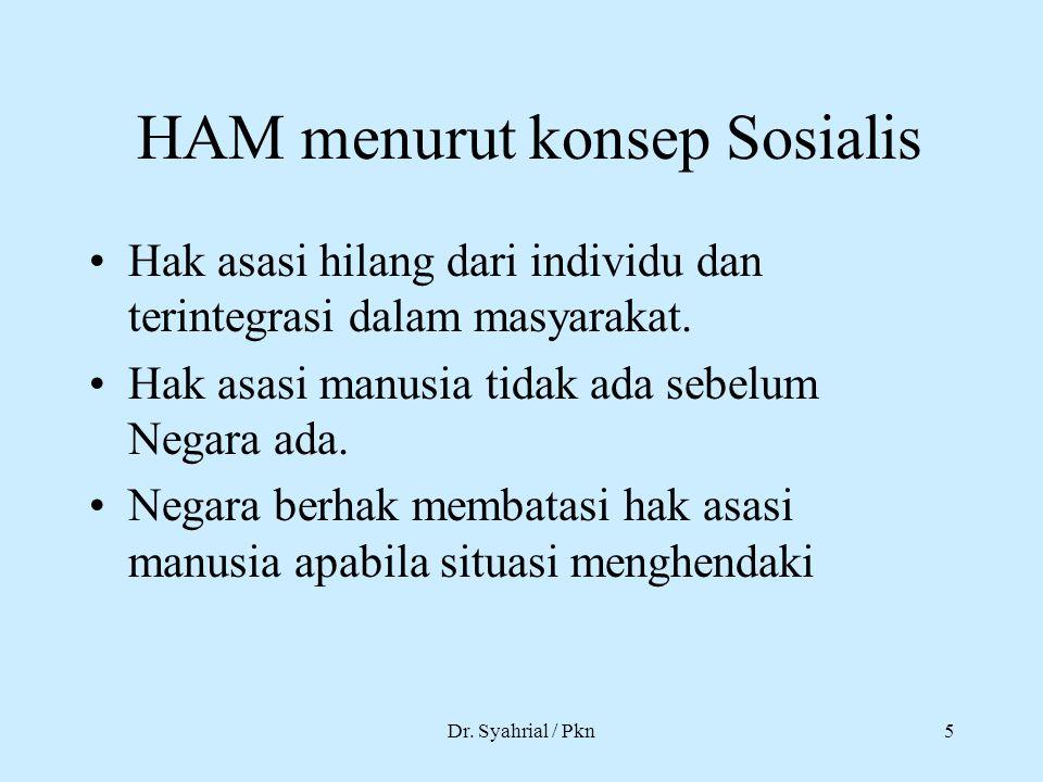 Dr. Syahrial / Pkn5 HAM menurut konsep Sosialis Hak asasi hilang dari individu dan terintegrasi dalam masyarakat. Hak asasi manusia tidak ada sebelum