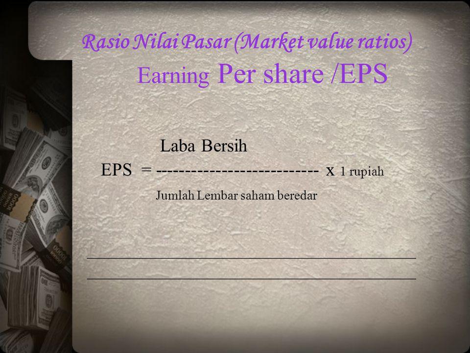Rasio Nilai Pasar (Market value ratios) Earning Per share /EPS Laba Bersih EPS = --------------------------- x 1 rupiah Jumlah Lembar saham beredar __