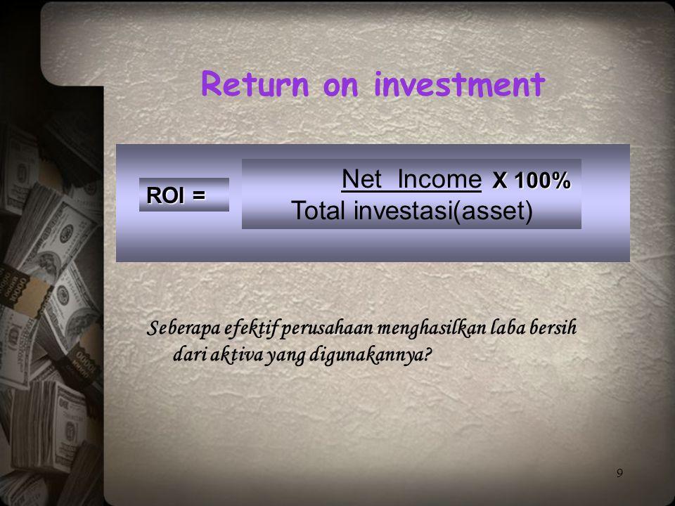 9 ROI = Net Income Total investasi(asset) Seberapa efektif perusahaan menghasilkan laba bersih dari aktiva yang digunakannya? Return on investment X 1
