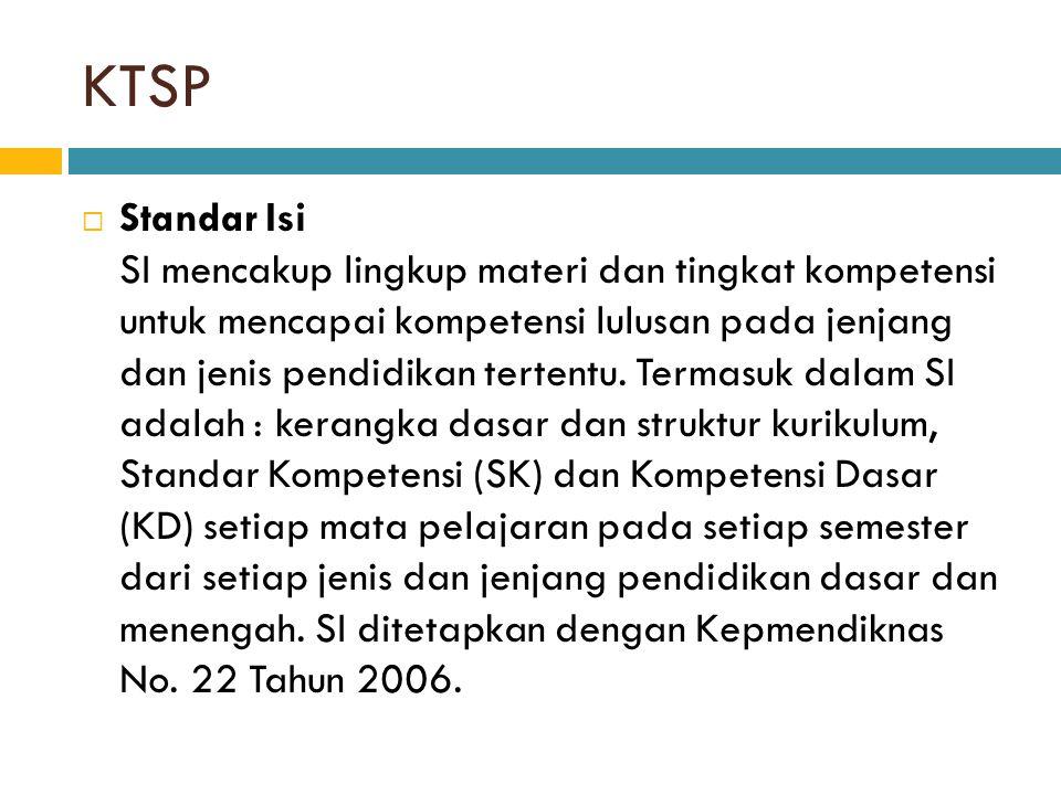 KTSP  Standar Isi SI mencakup lingkup materi dan tingkat kompetensi untuk mencapai kompetensi lulusan pada jenjang dan jenis pendidikan tertentu. Ter