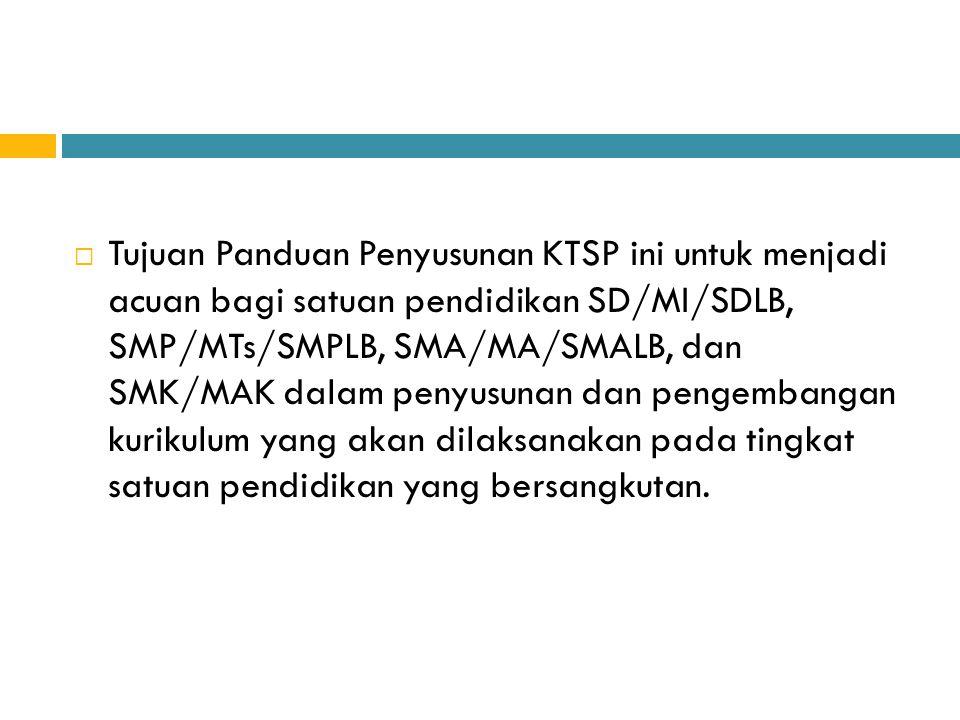  Tujuan Panduan Penyusunan KTSP ini untuk menjadi acuan bagi satuan pendidikan SD/MI/SDLB, SMP/MTs/SMPLB, SMA/MA/SMALB, dan SMK/MAK dalam penyusunan
