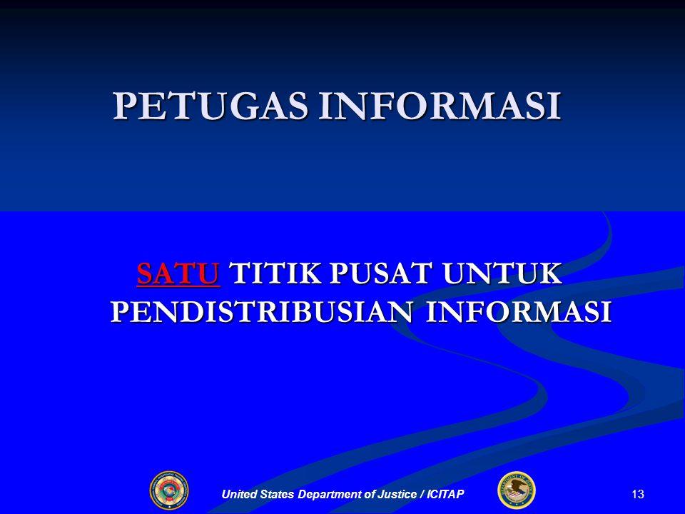 United States Department of Justice / ICITAP PETUGAS INFORMASI SATU TITIK PUSAT UNTUK PENDISTRIBUSIAN INFORMASI 13