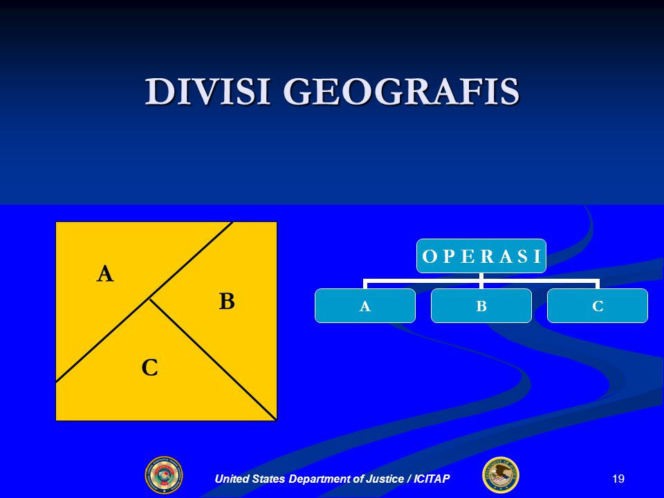United States Department of Justice / ICITAP DIVISI GEOGRAFIS A B O P E R A S I ABC C 19