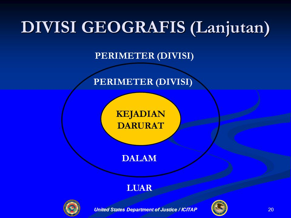 United States Department of Justice / ICITAP DIVISI GEOGRAFIS (Lanjutan) PERIMETER (DIVISI) DALAM LUAR KEJADIAN DARURAT 20