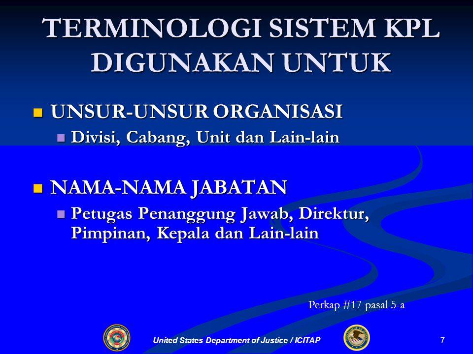United States Department of Justice / ICITAP UNIT-UNIT UTAMA BAGIAN PERENCANAAN Unit Sumber Daya Unit Sumber Daya Unit Situasi Unit Situasi Unit Dokumentasi Unit Dokumentasi UU No.