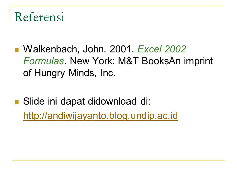 Referensi Walkenbach, John. 2001. Excel 2002 Formulas. New York: M&T BooksAn imprint of Hungry Minds, Inc. Slide ini dapat didownload di: http://andiw