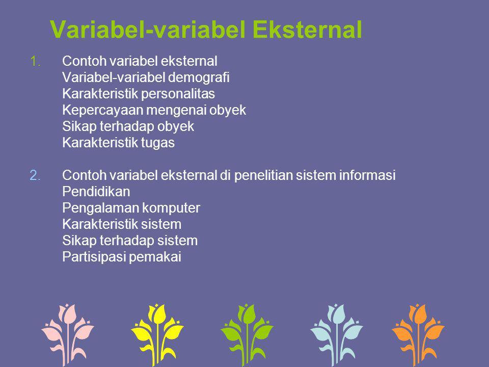 Variabel-variabel Eksternal 1.Contoh variabel eksternal Variabel-variabel demografi Karakteristik personalitas Kepercayaan mengenai obyek Sikap terhad