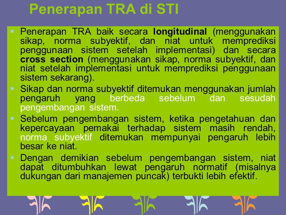 Penerapan TRA di STI  Penerapan TRA baik secara longitudinal (menggunakan sikap, norma subyektif, dan niat untuk memprediksi penggunaan sistem setela
