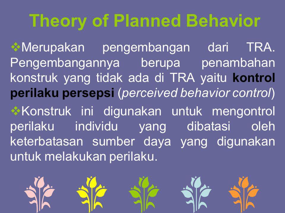 Theory of Planned Behavior  Merupakan pengembangan dari TRA. Pengembangannya berupa penambahan konstruk yang tidak ada di TRA yaitu kontrol perilaku