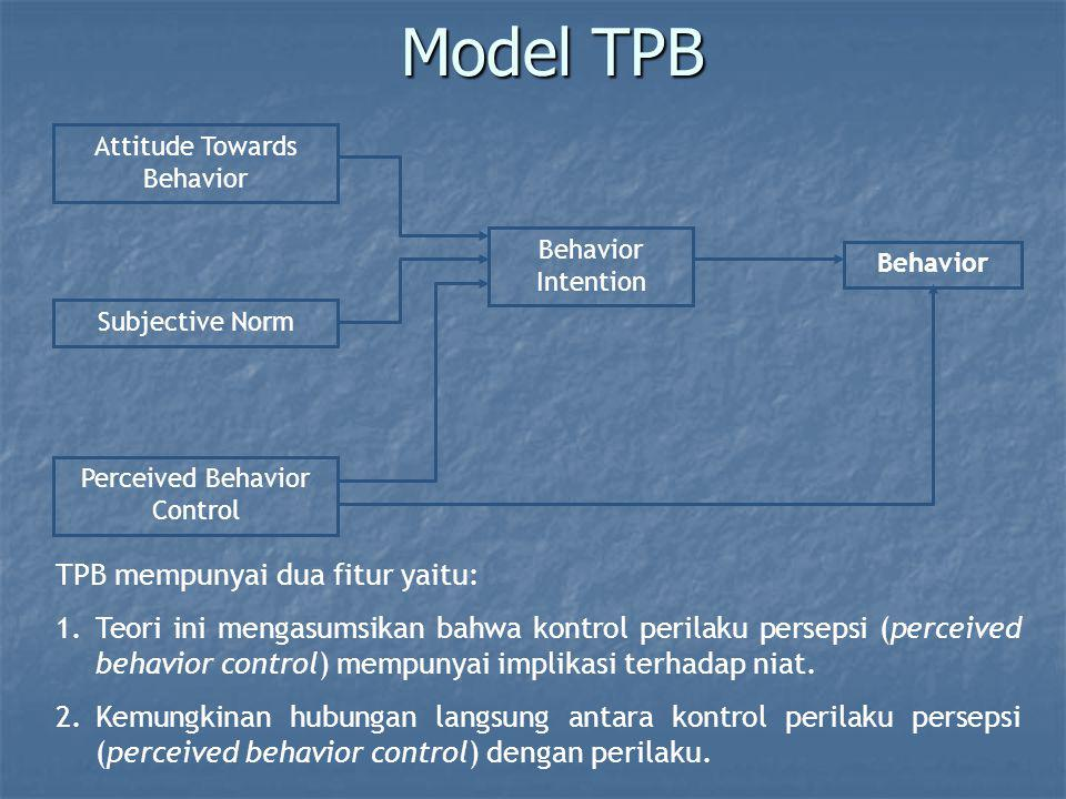 Model TPB Attitude Towards Behavior Subjective Norm Perceived Behavior Control Behavior Intention Behavior TPB mempunyai dua fitur yaitu: 1.Teori ini
