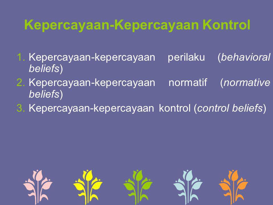 Kepercayaan-Kepercayaan Kontrol 1.Kepercayaan-kepercayaan perilaku (behavioral beliefs) 2.Kepercayaan-kepercayaan normatif (normative beliefs) 3.Keper