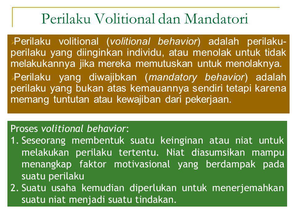 Perilaku Volitional dan Mandatori  Perilaku volitional (volitional behavior) adalah perilaku- perilaku yang diinginkan individu, atau menolak untuk t
