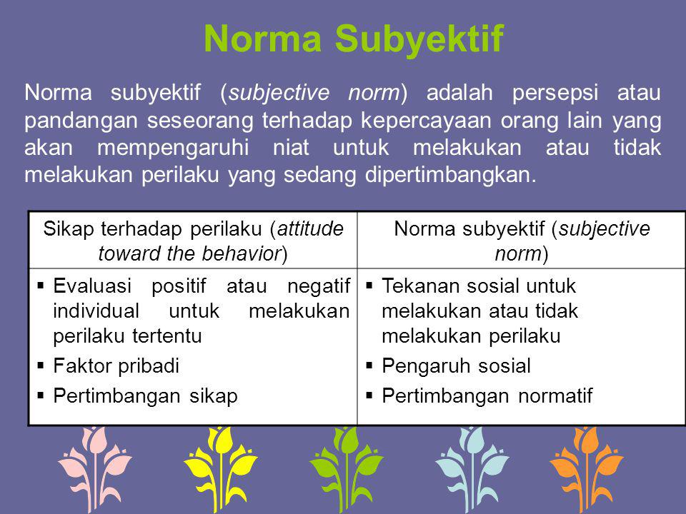 Norma Subyektif Norma subyektif (subjective norm) adalah persepsi atau pandangan seseorang terhadap kepercayaan orang lain yang akan mempengaruhi niat
