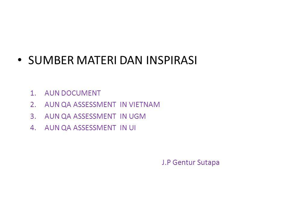 SUMBER MATERI DAN INSPIRASI 1.AUN DOCUMENT 2.AUN QA ASSESSMENT IN VIETNAM 3.AUN QA ASSESSMENT IN UGM 4.AUN QA ASSESSMENT IN UI J.P Gentur Sutapa