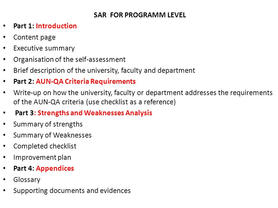SAR FOR PROGRAMM LEVEL Part 1: Introduction Content page Executive summary Organisation of the self-assessment Brief description of the university, fa