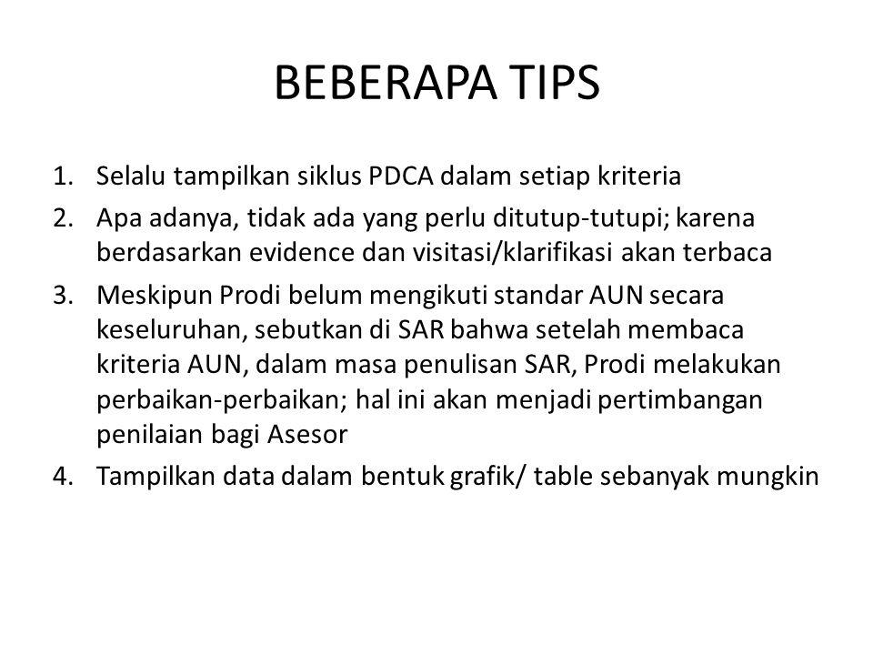 BEBERAPA TIPS 1.Selalu tampilkan siklus PDCA dalam setiap kriteria 2.Apa adanya, tidak ada yang perlu ditutup-tutupi; karena berdasarkan evidence dan