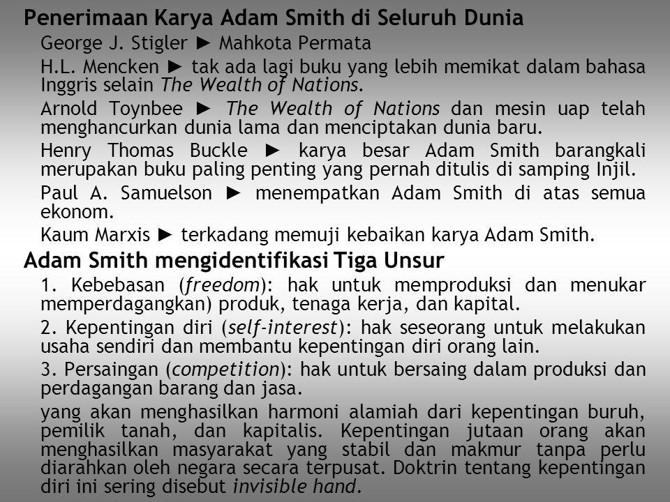 Penerimaan Karya Adam Smith di Seluruh Dunia George J. Stigler ► Mahkota Permata H.L. Mencken ► tak ada lagi buku yang lebih memikat dalam bahasa Ingg