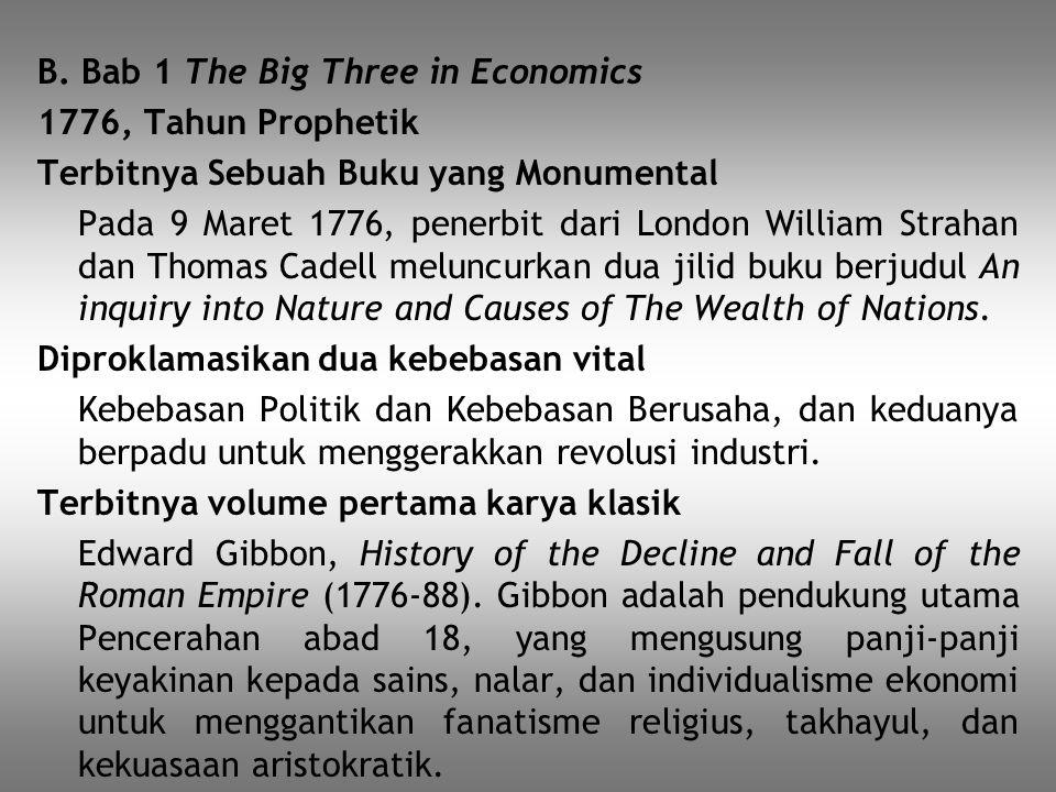 B. Bab 1 The Big Three in Economics 1776, Tahun Prophetik Terbitnya Sebuah Buku yang Monumental Pada 9 Maret 1776, penerbit dari London William Straha