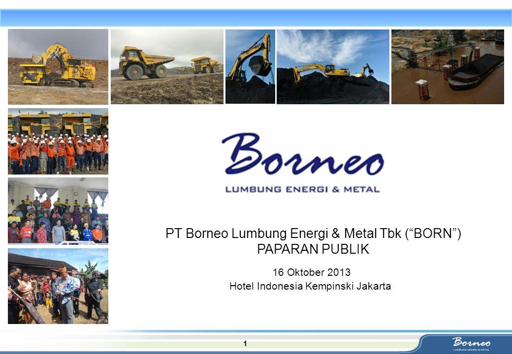 "1 PT Borneo Lumbung Energi & Metal Tbk (""BORN"") PAPARAN PUBLIK 16 Oktober 2013 Hotel Indonesia Kempinski Jakarta"