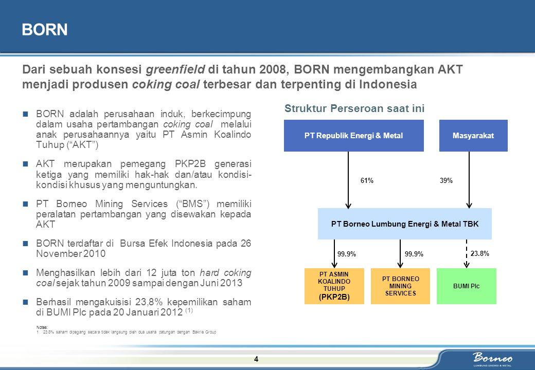 "4 BORN BORN adalah perusahaan induk, berkecimpung dalam usaha pertambangan coking coal melalui anak perusahaannya yaitu PT Asmin Koalindo Tuhup (""AKT"""