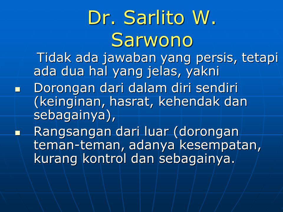 Dr. Sarlito W. Sarwono Tidak ada jawaban yang persis, tetapi ada dua hal yang jelas, yakni Tidak ada jawaban yang persis, tetapi ada dua hal yang jela