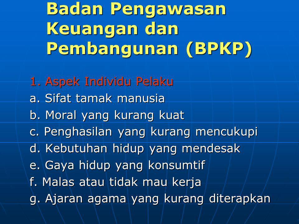 Badan Pengawasan Keuangan dan Pembangunan (BPKP) 1. Aspek Individu Pelaku a. Sifat tamak manusia b. Moral yang kurang kuat c. Penghasilan yang kurang