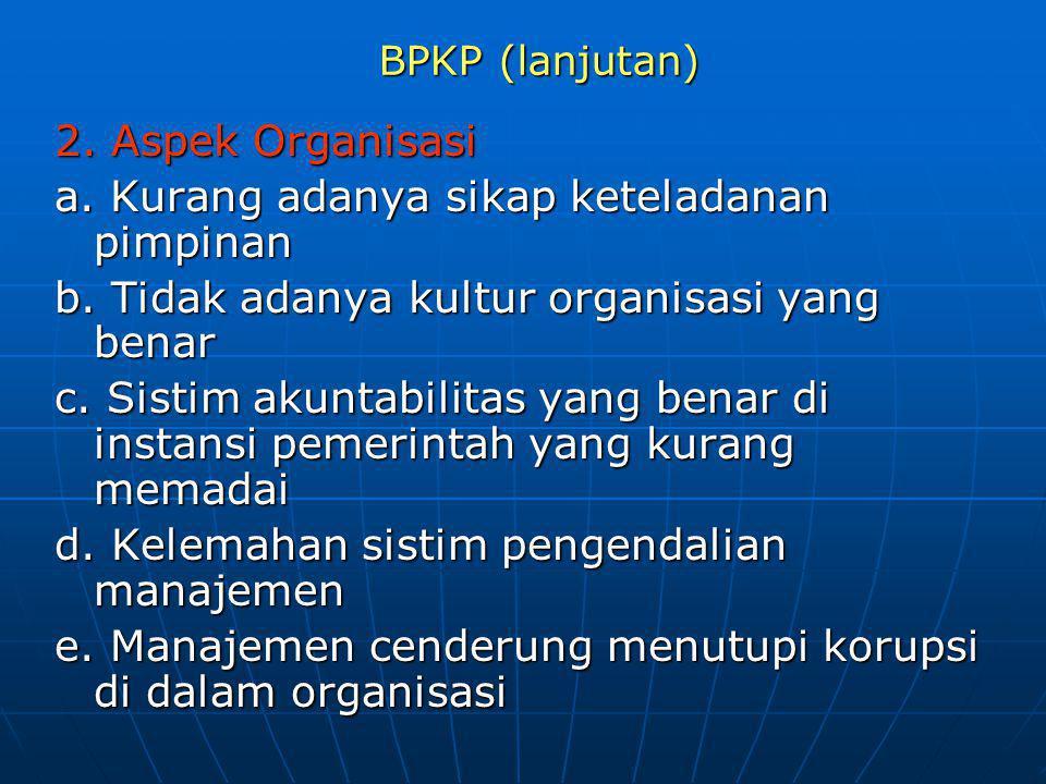 BPKP (lanjutan) 2. Aspek Organisasi a. Kurang adanya sikap keteladanan pimpinan b. Tidak adanya kultur organisasi yang benar c. Sistim akuntabilitas y