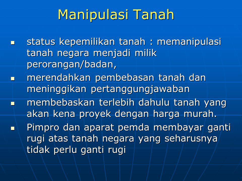 Manipulasi Tanah status kepemilikan tanah : memanipulasi tanah negara menjadi milik perorangan/badan, status kepemilikan tanah : memanipulasi tanah ne