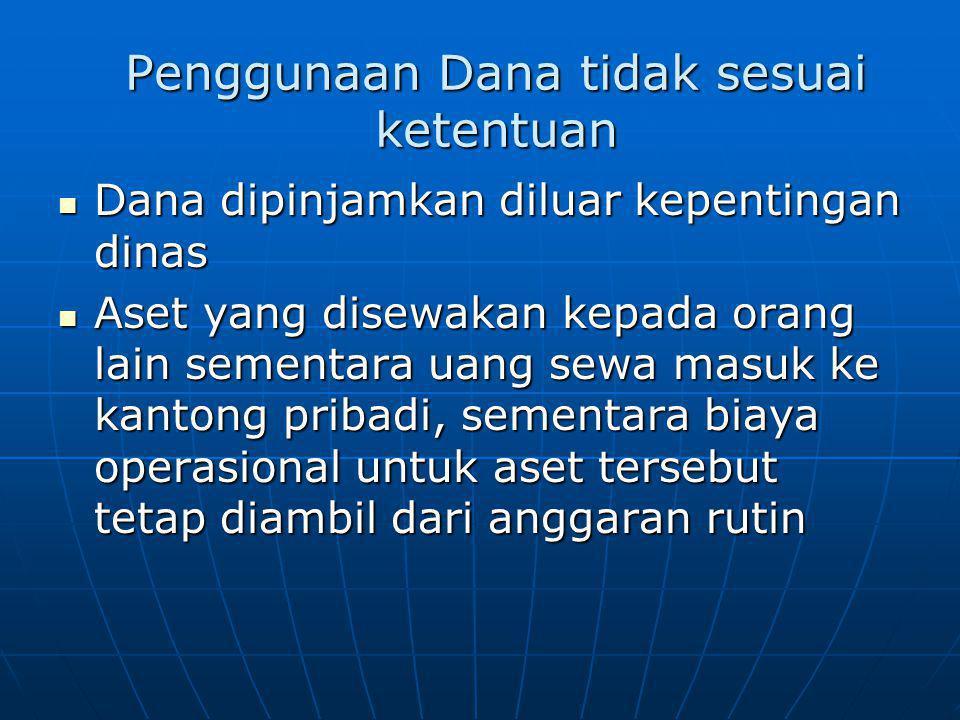 Penggunaan Dana tidak sesuai ketentuan Dana dipinjamkan diluar kepentingan dinas Dana dipinjamkan diluar kepentingan dinas Aset yang disewakan kepada
