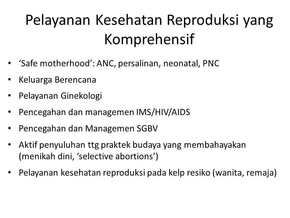 Kesehatan Reproduksi dalam Keadaan Bencana Dibentuk thn 1995 di Geneve (>30 angg PBB, NGO, Academic, Donors) Berada di bawah pengawasan UNHCR* Pembentukan 'Inter-agency Field Manual' 'The MISP' Komprehensif kesehatan reproduksi ('safe motherhood, KB, gender-kekerasan, IMS/HIV) * United Nations High Commissioner for refugees
