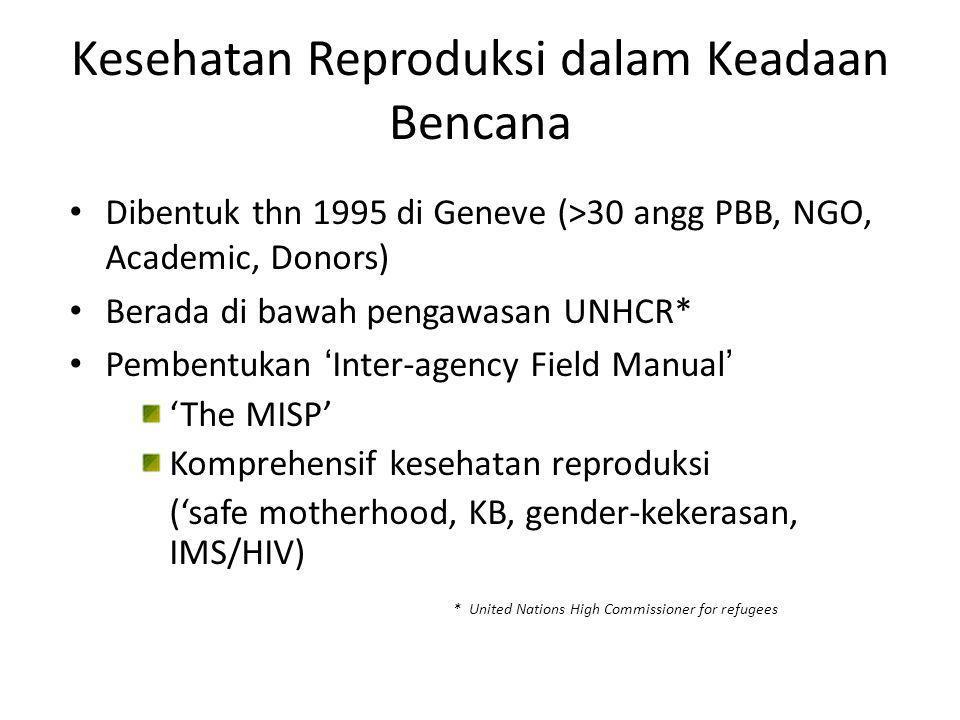 Minimum Initial Service Package (MISP) Mimimum Initial Service Package  Dasar/pokok, terbatas untuk kesehatan reproduksi  Digunakan saat 'emergency', tanpa pengkajian kebutuhan terperinci  Pemberian pelayanan kepada masyarakat  Ketersediaan 'perlengkapan'(RH kit) dan kegiatan  Koordinasi dan perencanaan