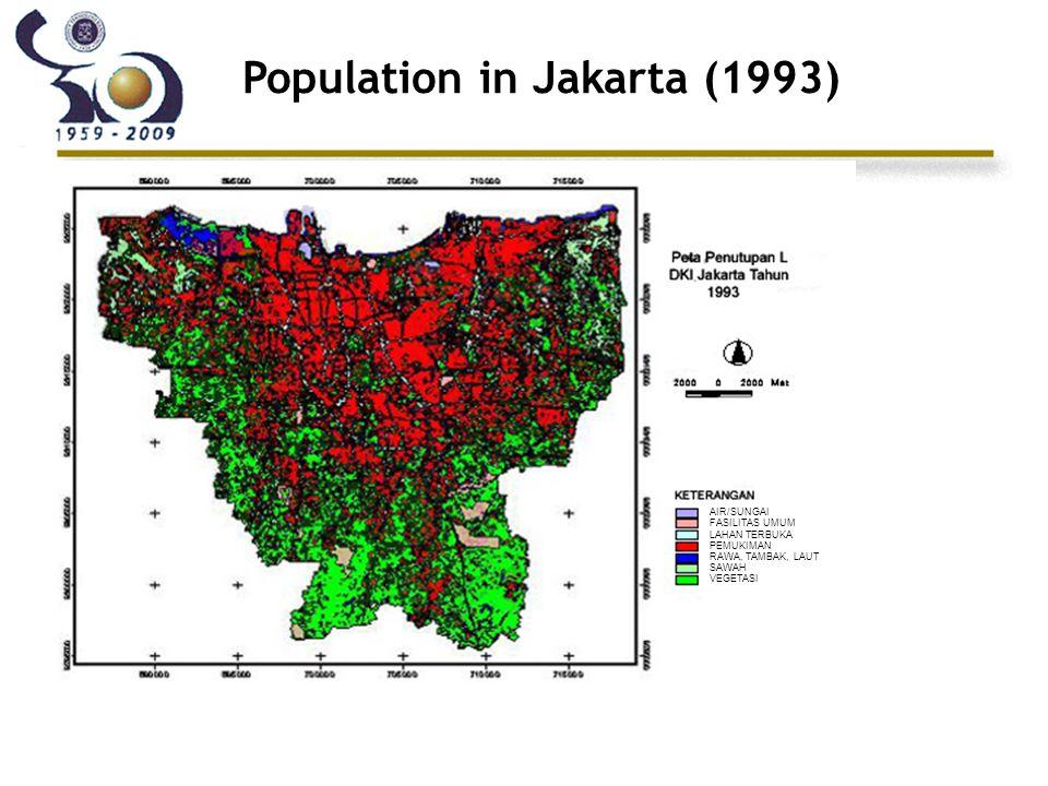 Population in Jakarta (1993) AIR/SUNGAI FASILITAS UMUM LAHAN TERBUKA PEMUKIMAN RAWA, TAMBAK, LAUT SAWAH VEGETASI