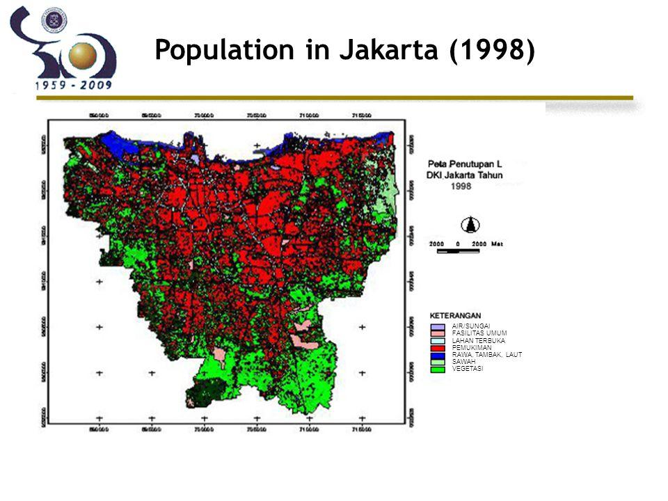 Population in Jakarta (1998) AIR/SUNGAI FASILITAS UMUM LAHAN TERBUKA PEMUKIMAN RAWA, TAMBAK, LAUT SAWAH VEGETASI