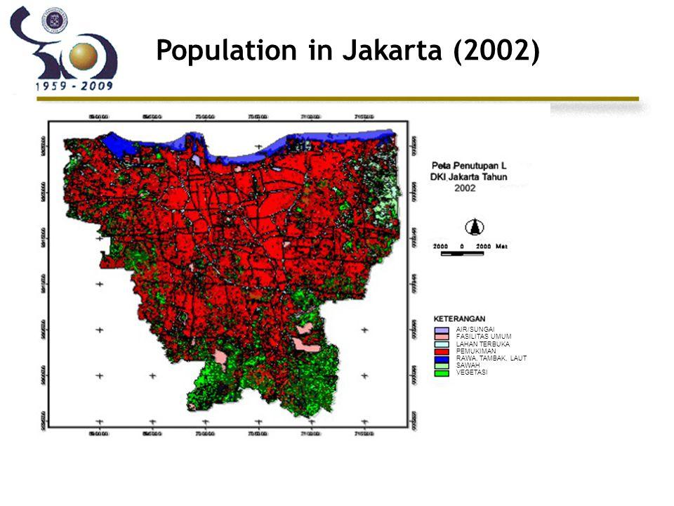 Population in Jakarta (2002) AIR/SUNGAI FASILITAS UMUM LAHAN TERBUKA PEMUKIMAN RAWA, TAMBAK, LAUT SAWAH VEGETASI