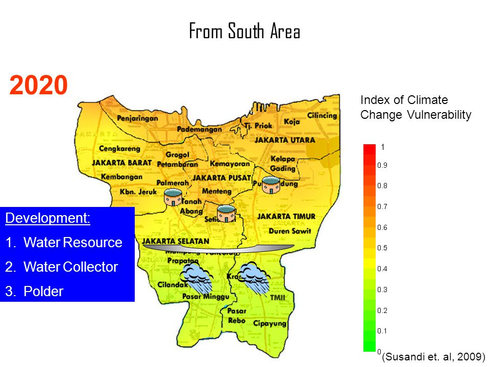 Index of Climate Change Vulnerability 1 (Susandi et. al, 2009) 2020 From South Area Development: 1.Water Resource 2.Water Collector 3.Polder