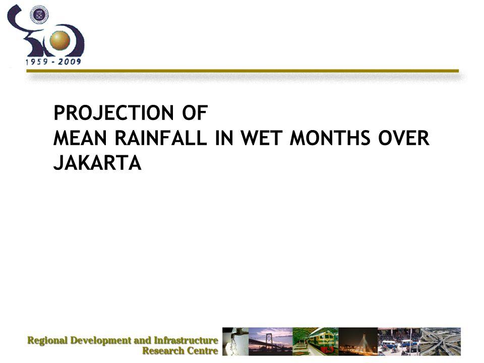 Projection of Rainfall in Jakarta (Wet Months 2010) 600 mm (Susandi et. al, 2009)