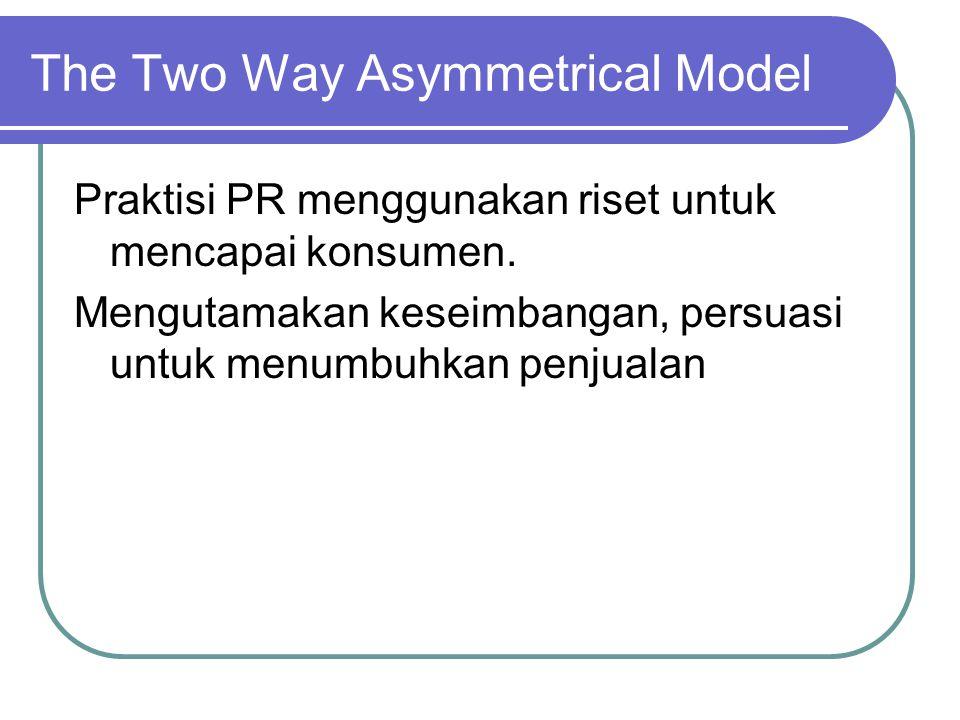 The Two Way Asymmetrical Model Praktisi PR menggunakan riset untuk mencapai konsumen.