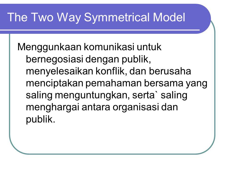 The Two Way Symmetrical Model Menggunkaan komunikasi untuk bernegosiasi dengan publik, menyelesaikan konflik, dan berusaha menciptakan pemahaman bersama yang saling menguntungkan, serta` saling menghargai antara organisasi dan publik.