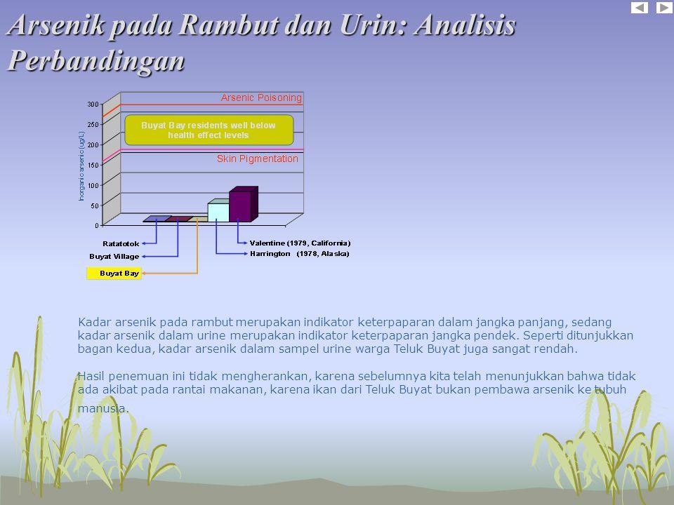 Arsenik pada Rambut dan Urin: Analisis Perbandingan Kadar arsenik pada rambut merupakan indikator keterpaparan dalam jangka panjang, sedang kadar arsenik dalam urine merupakan indikator keterpaparan jangka pendek.