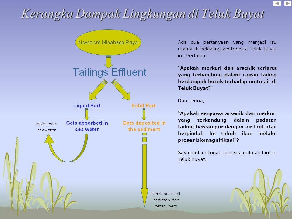 Kerangka Dampak Lingkungan di Teluk Buyat Kerangka Dampak Lingkungan di Teluk Buyat Ada dua pertanyaan yang menjadi isu utama di belakang kontroversi Teluk Buyat ini.