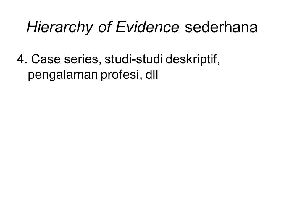 Hierarchy of Evidence sederhana 4. Case series, studi-studi deskriptif, pengalaman profesi, dll