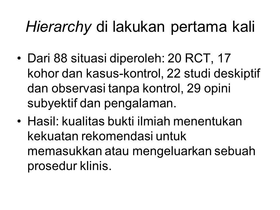 Hierarchy di lakukan pertama kali Dari 88 situasi diperoleh: 20 RCT, 17 kohor dan kasus-kontrol, 22 studi deskiptif dan observasi tanpa kontrol, 29 opini subyektif dan pengalaman.