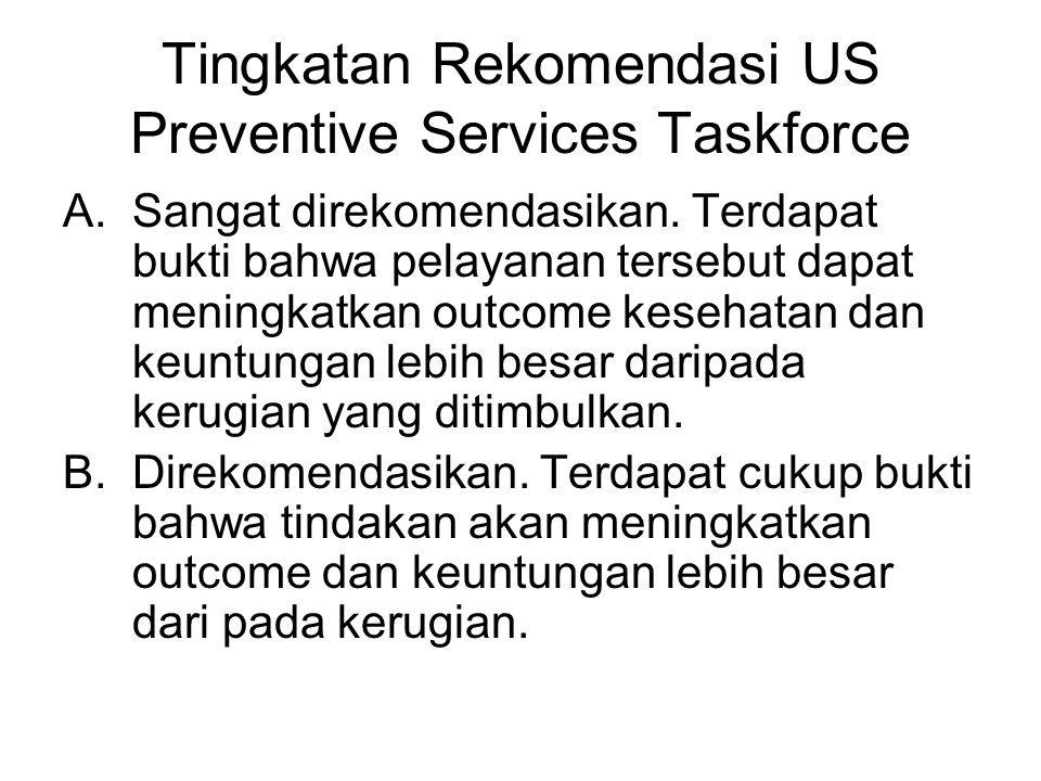 Tingkatan Rekomendasi US Preventive Services Taskforce A.Sangat direkomendasikan.