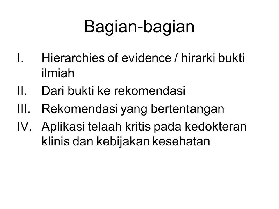 Bagian-bagian I.Hierarchies of evidence / hirarki bukti ilmiah II.Dari bukti ke rekomendasi III.Rekomendasi yang bertentangan IV.Aplikasi telaah kritis pada kedokteran klinis dan kebijakan kesehatan