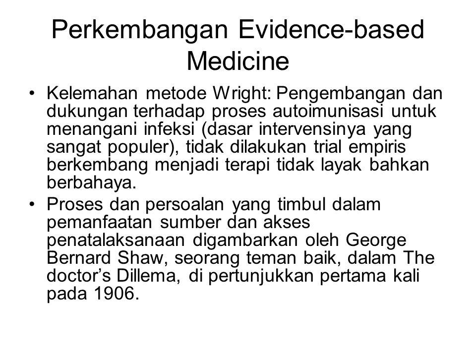 Perkembangan Evidence-based Medicine Kelemahan metode Wright: Pengembangan dan dukungan terhadap proses autoimunisasi untuk menangani infeksi (dasar intervensinya yang sangat populer), tidak dilakukan trial empiris berkembang menjadi terapi tidak layak bahkan berbahaya.