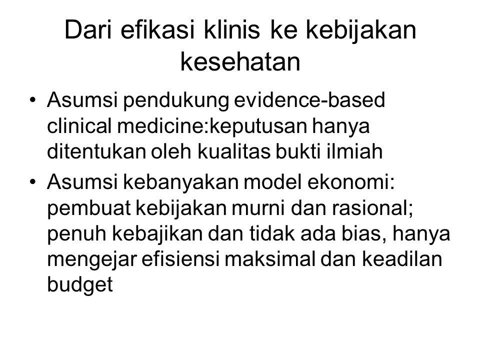 Dari efikasi klinis ke kebijakan kesehatan Asumsi pendukung evidence-based clinical medicine:keputusan hanya ditentukan oleh kualitas bukti ilmiah Asumsi kebanyakan model ekonomi: pembuat kebijakan murni dan rasional; penuh kebajikan dan tidak ada bias, hanya mengejar efisiensi maksimal dan keadilan budget