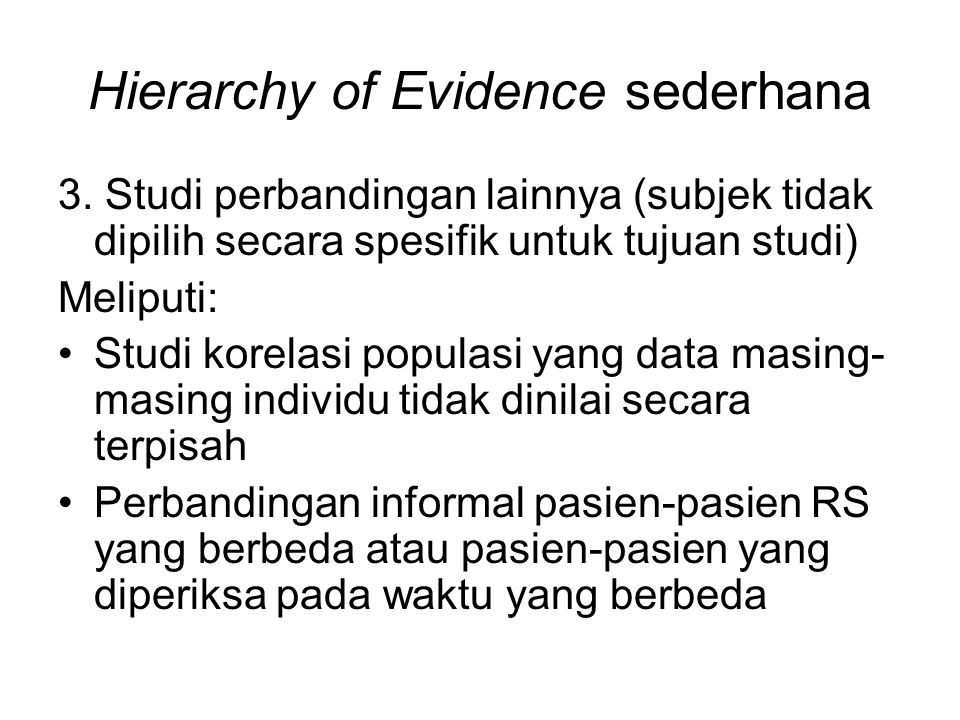Dari efikasi klinis ke kebijakan kesehatan Pendekatan berdasarkan individual pasien dinilai kurang memberikan perhatian pada masalah efisiensi, biaya dan pertimbangan sosial lain  'narrow scienticism' Alan Maynard (ahli ekonomi kesehatan Inggris yang terkenal): 'Jika EBM dan etika individu dibolehkan untuk menentukan pilihan terapi, sumber daya akan digunakan secara tidak efisien dan tidak etis' Seorang ahli sosial ternama menyatakan bantahan pendekatan kedokteran tradisional terhadap bukti empiris, dengan alasan heterogenitas masalah individu pasien memerlukan proses misterius berupa 'penilaian klinis'.
